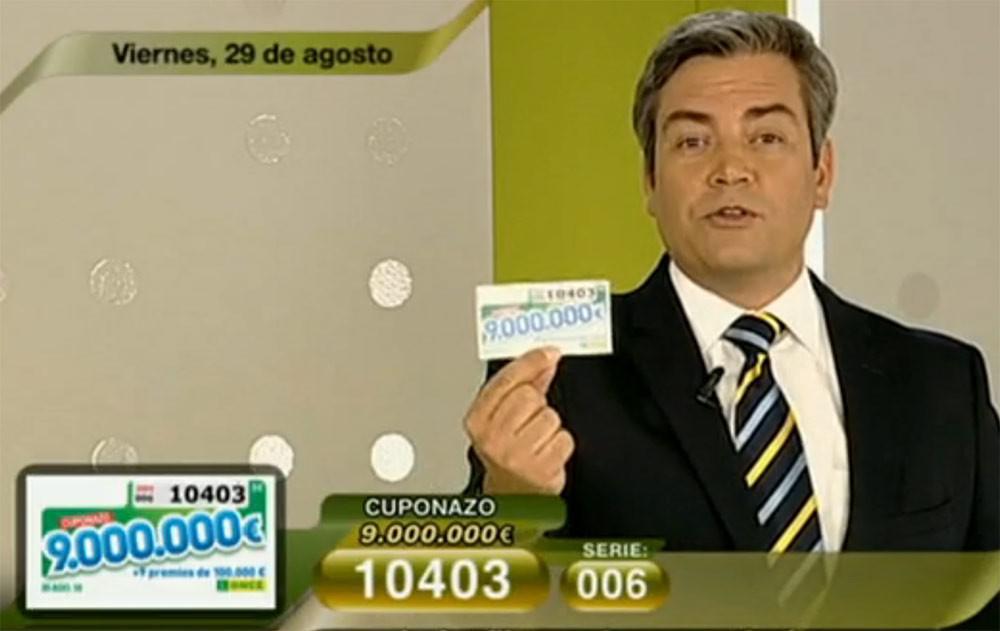 Cuponazo 29 de agosto al número 10403 con 9.000.000 de Euros | Foto: RTVE