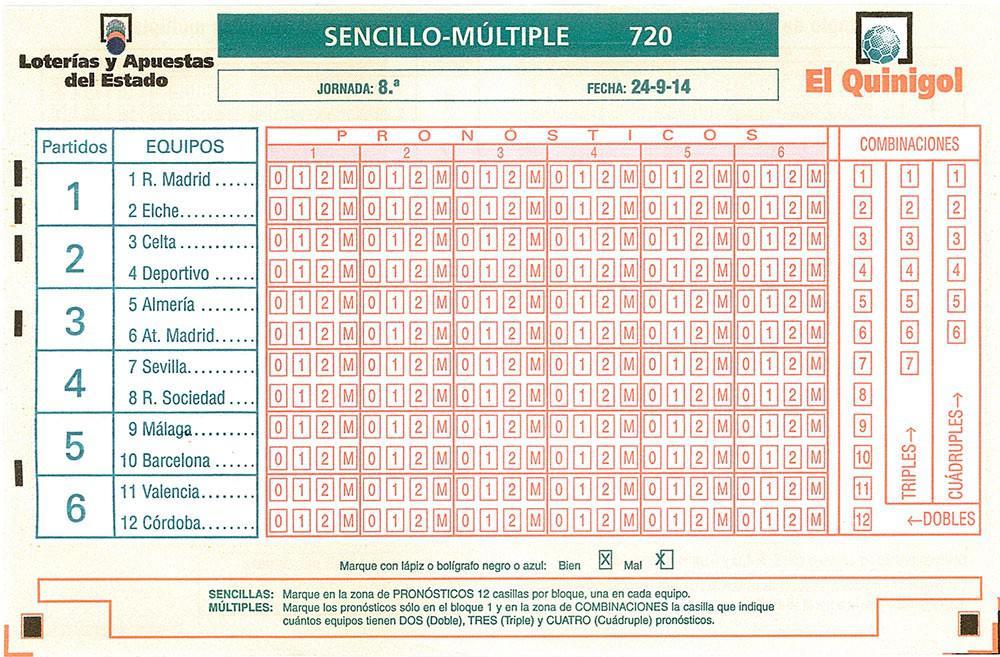 Boleto de Quinigol Jornada 8