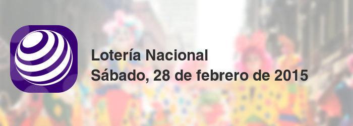 Lotería Nacional del sábado, 28 de febrero de 2015