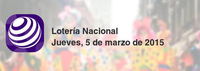 Lotería Nacional del jueves, 5 de marzo de 2015