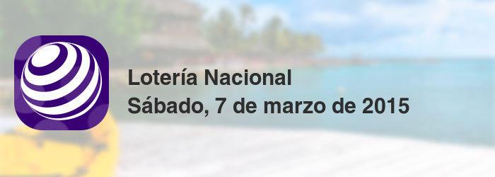 Lotería Nacional del sábado, 7 de marzo de 2015