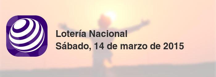 Lotería Nacional del sábado, 14 de marzo de 2015