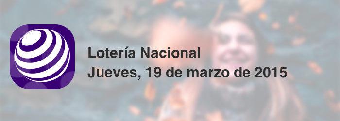 Lotería Nacional del jueves, 19 de marzo de 2015