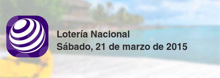 Lotería Nacional del sábado, 21 de marzo de 2015