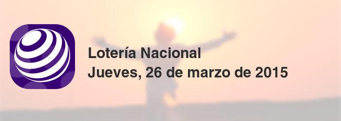 Lotería Nacional del jueves, 26 de marzo de 2015