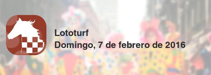 Lototurf del domingo, 7 de febrero de 2016