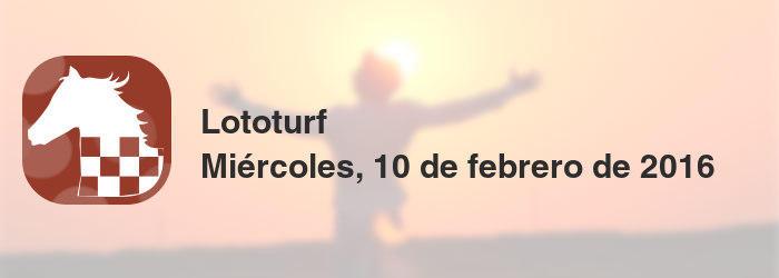 Lototurf del miércoles, 10 de febrero de 2016