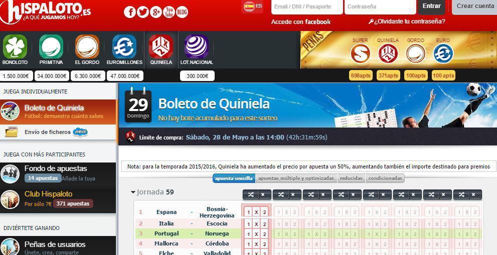 Boleto de Quiniela en la Web Hispaloto.es