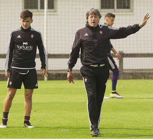 Enrique Martín durante la sesión de entrenamiento de hoy