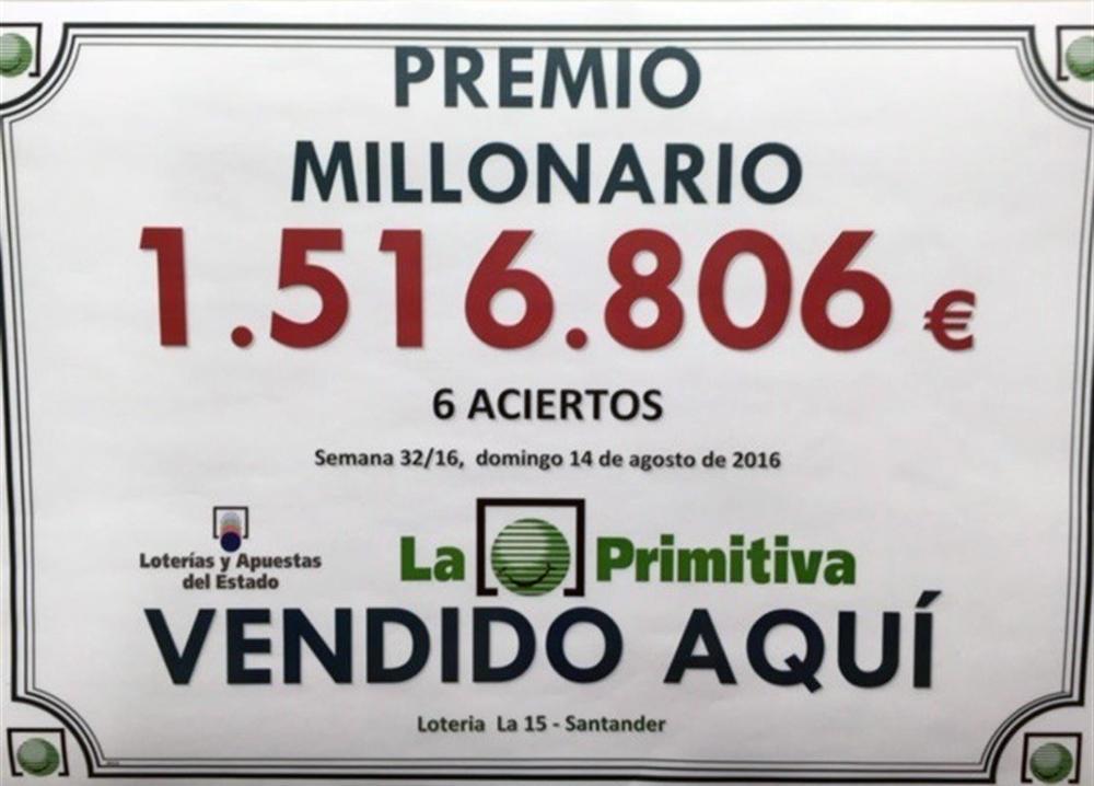 Cartel del premio en 'La 15-Santander'