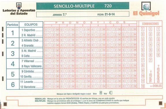 Boleto de Quinigol Jornada 7