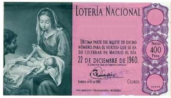 Décimo de Lotería de Navidad 1960