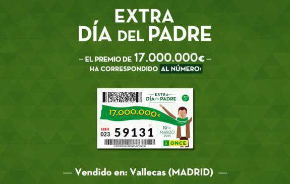 17 millones del Extra de la ONCE del Día del Padre caen en Vallecas