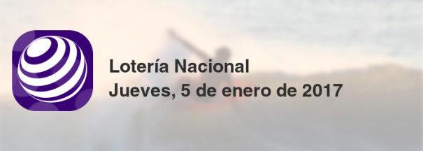 Lotería Nacional del jueves, 5 de enero de 2017