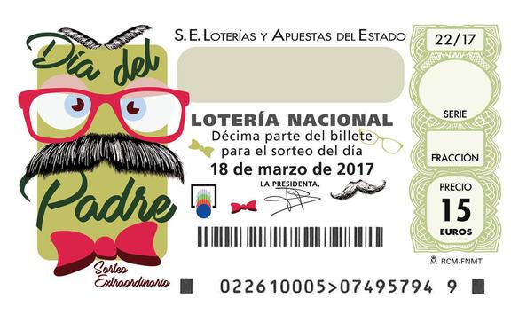Décimo de Lotería Nacional 18 de marzo 2017