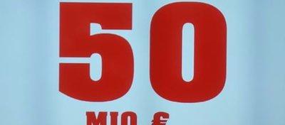Foto: Cartel del bote de Euromillones de WestLotto