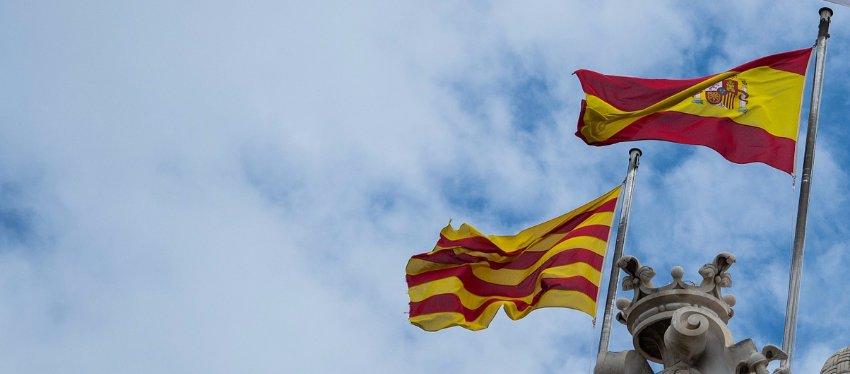 Bandera de España y Bandera de Cataluña