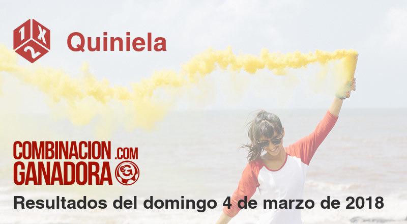 Quiniela del domingo 4 de marzo de 2018