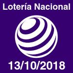 Lotería Nacional del sábado 13 de octubre de 2018