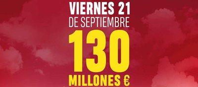 Ningún acertante de primera categoría en Euromillones y 130 millones este viernes