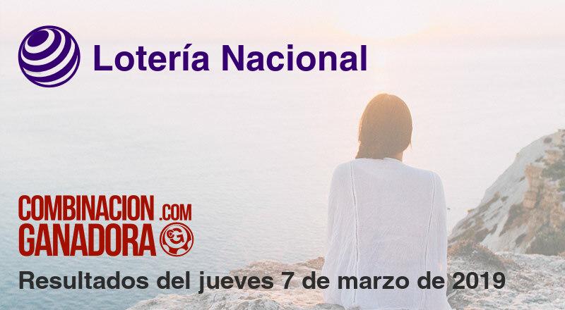 Lotería Nacional del jueves 7 de marzo de 2019