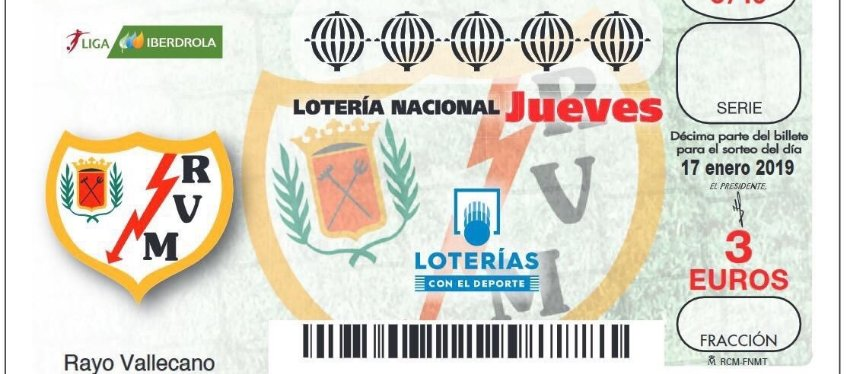 El Rayo Vallecano femenino, protagonista en la Lotería Nacional