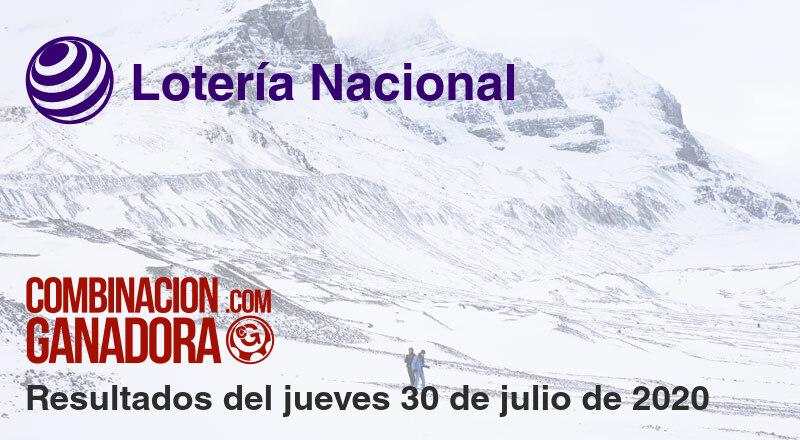 Lotería Nacional del jueves 30 de julio de 2020