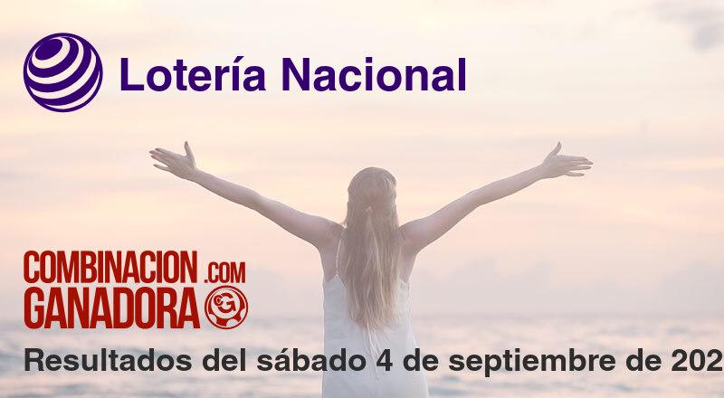 Lotería Nacional del sábado 4 de septiembre de 2021
