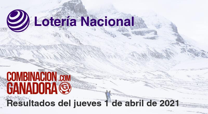 Lotería Nacional del jueves 1 de abril de 2021