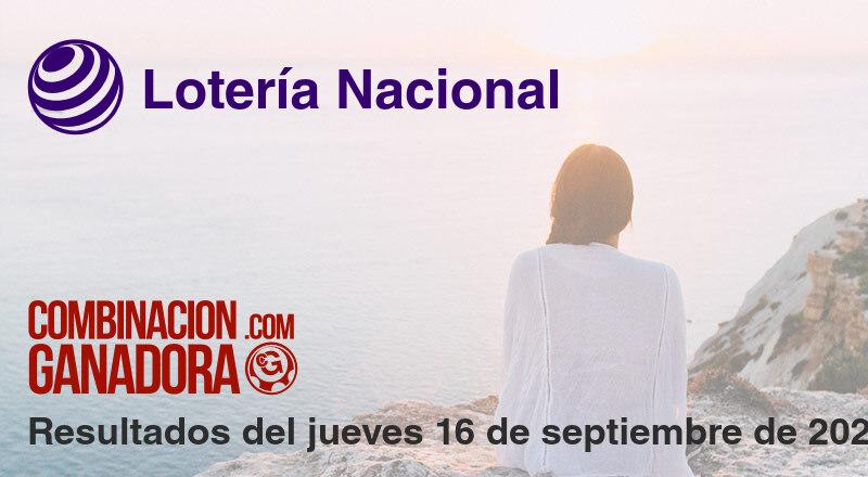 Lotería Nacional del jueves 16 de septiembre de 2021