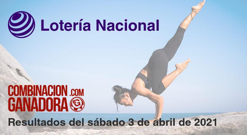 Lotería Nacional del sábado 3 de abril de 2021
