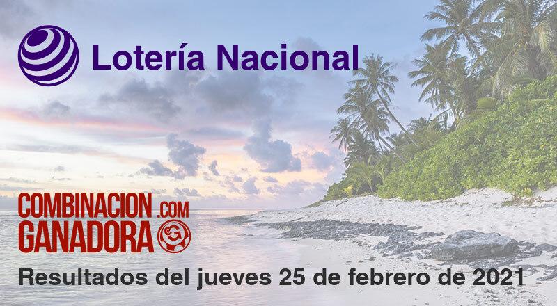 Lotería Nacional del jueves 25 de febrero de 2021