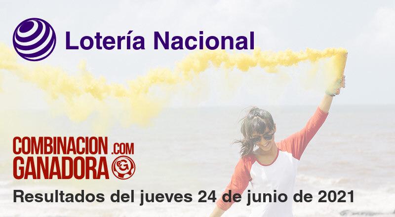 Lotería Nacional del jueves 24 de junio de 2021