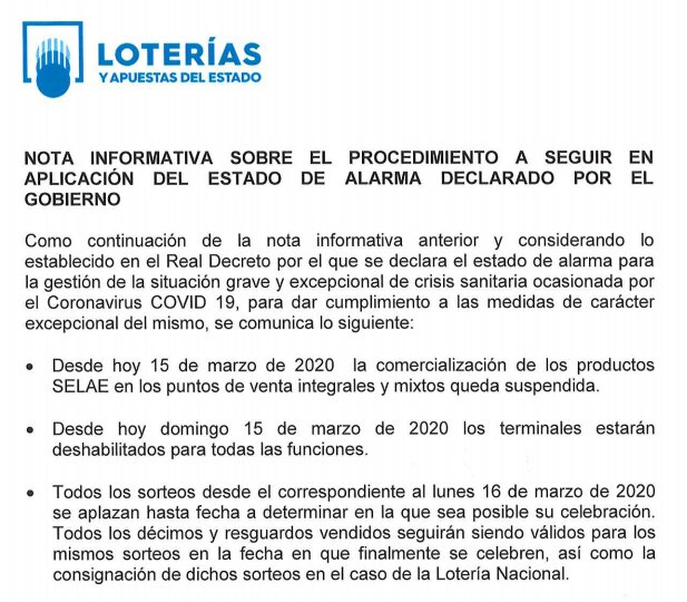 Nota informativa Loterías y Apuestas del Estado por el Covid-19