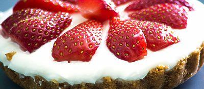 Tarta de crema de queso con fresas