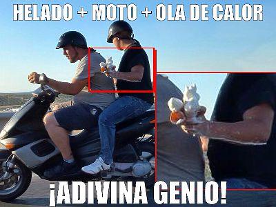 Helado + moto + ola de calor