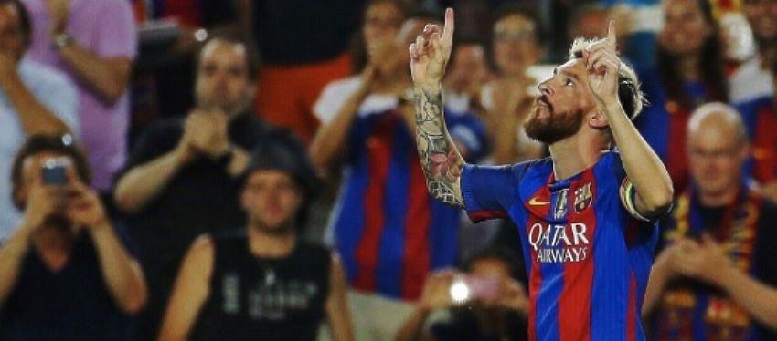 Messi celebra uno de los tres goles que anotó ante el Celtic. Foto: Twitter.