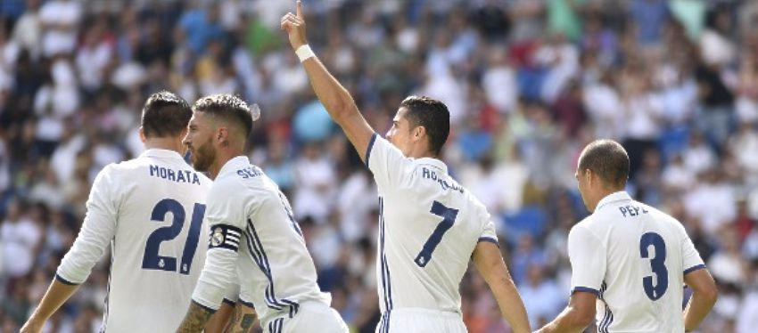 Cristiano Ronaldo celebra su gol frente a Osasuna. Foto: @futbolmahou.
