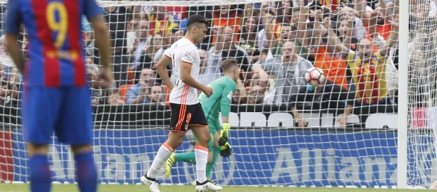 Munir no celebró el 1-1 en su reencuentro con el Barça. Foto: LaLiga.
