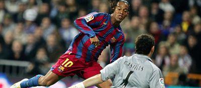 Ronaldinho siempre será recordado en Barcelona por su doblete en el Bernabéu. Foto: Bwin.