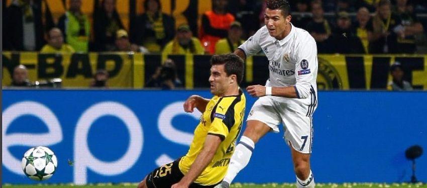 El remate de Ronaldo que supuso el 0-1 en Dortmund. Foto: Instagram.