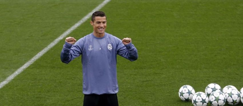 Cristiano, durante un entrenamiento previo al partido ante el Legia. Foto: Mundo Deportivo.