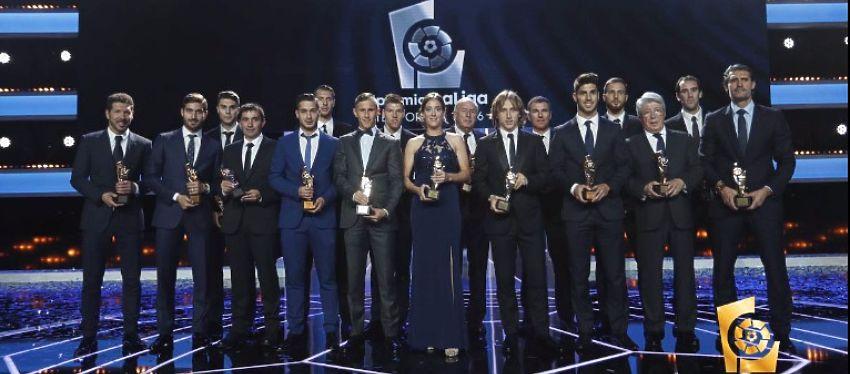 Los grandes premiados en la gala de anoche. Foto: LaLiga.