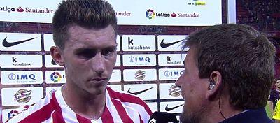Laporte habló a pie de campo tras la derrota frente al Barça. Foto: Movistar Plus.