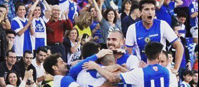 Los jugadores del Hércules celebran el único gol marcado |Foto: @cfhercules