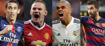 Di María, Rooney, Pepe o Ardan Turan podrían ser los siguientes en aterrizar en el fútbol chino. Foto: @todapasion.