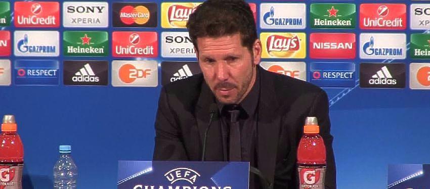 Diego Simeone durante la rueda de prensa de la Final de la Champions League