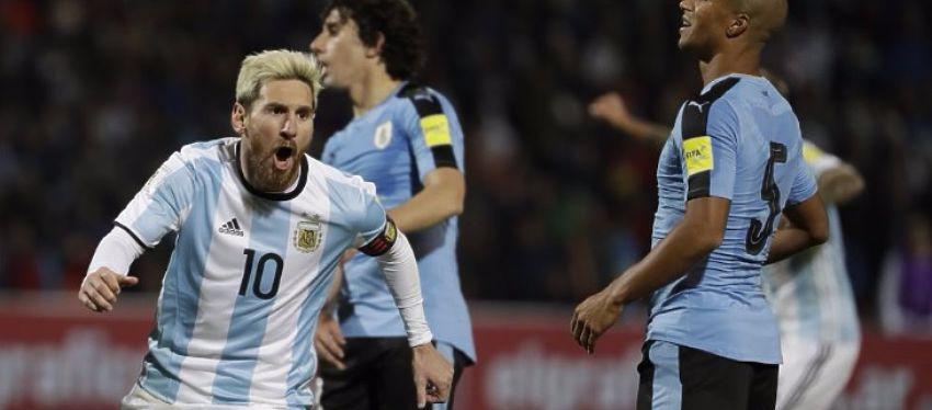 Messi celebra su gol con Argentina. Foto: Twitter.