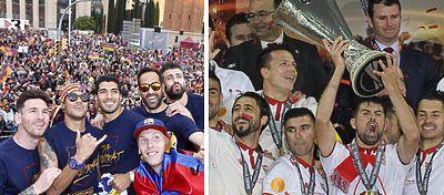 Barcelona y Sevilla celebran el título de Liga y Europa League: Foto: FC Barcelona, Sevilla FC.