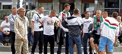 Aficionados del Legia en las calles de Madrid. Foto: @tododeportes_pl.